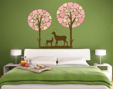 Produktfoto Wandtattoo Babyzimmer No.JS89 Rehe im Herzwald