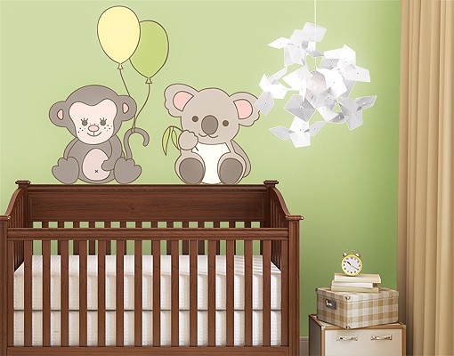 Produktfoto Wandtattoo Babyzimmer No.EV69 Äffchen & Koala