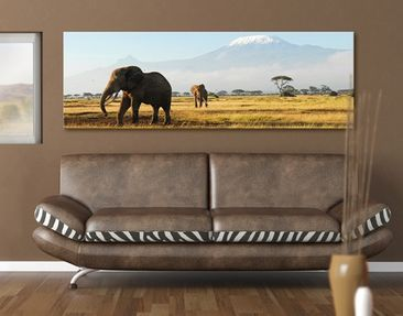 Immagine del prodotto Stampa su tela No.206 Elephants In Front Of The Kilimanjaro In Kenya 120x40cm