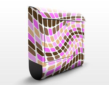 Produktfoto Wandbriefkasten - Dancing Squares - Briefkasten Rosa, Pink