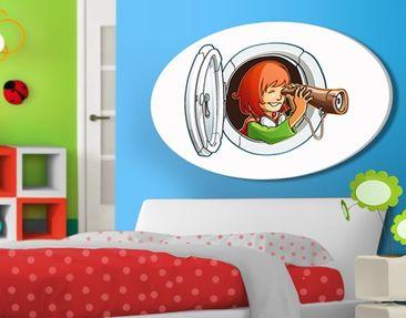 Produktfoto Leinwandbild Oval Fliegender Bauernhof Luken-Mädchen