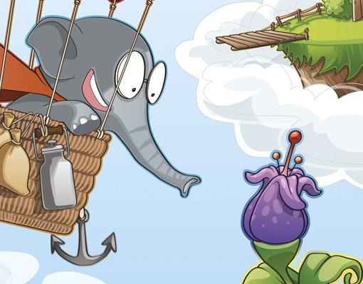Produktfoto Fensterfolie - Sichtschutz Fenster Fliegender Bauernhof Elefant in den Wolken - Fensterbilder