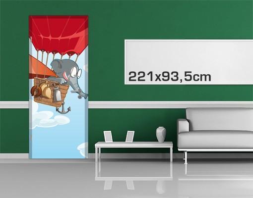 Produktfoto TürTapete Fliegender Bauernhof Elefant...