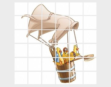 Product picture Tile Mural Flying Farm Chicks