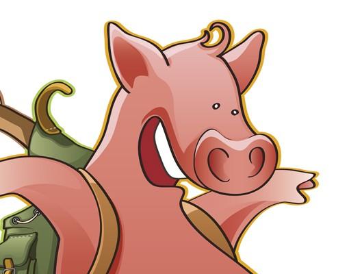 Produktfoto Selbstklebendes Wandbild Fliegender Bauernhof Schwein