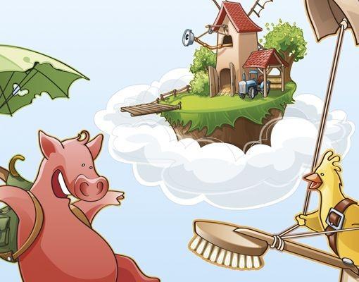 Produktfoto Leinwandbild Oval Fliegender Bauernhof Küken und Schwein