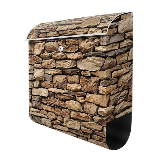 Produktfoto Briefkasten Steinoptik - Amerikanische Steinwand - Briefkasten mit Zeitungsrolle