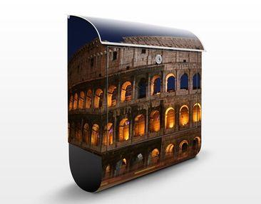 Produktfoto Briefkasten mit Zeitungsfach - Colosseum in Rom bei Nacht - Wandbriefkasten