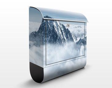 Produktfoto Briefkasten mit Zeitungsfach - Die Alpen über den Wolken - Hausbriefkasten Blau