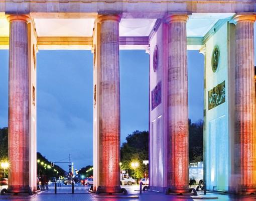Produktfoto Briefkasten mit Zeitungsfach - Berlin Erleuchtetes Brandenburger Tor - Wandbriefkasten