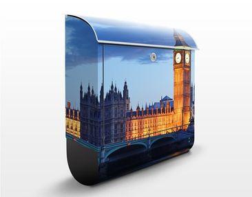 Produktfoto Briefkasten mit Zeitungsfach - London bei Nacht - Wandbriefkasten