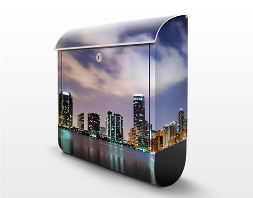 Produktfoto Briefkasten mit Zeitungsfach - Miami bei Nacht - Wandbriefkasten