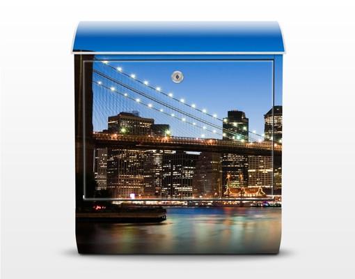 Produktfoto Briefkasten mit Zeitungsfach - Brooklyn Brücke in New York - Wandbriefkasten