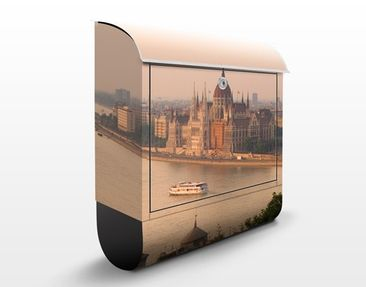 Produktfoto Briefkasten mit Zeitungsfach - Budapest Skyline - Wandbriefkasten