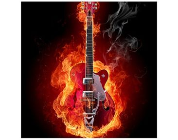 Product picture Design Table Guitar in Flames 55x55x45cm