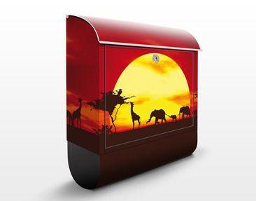 Produktfoto Briefkasten mit Zeitungsfach - No.CG80 Sunset Caravan - Hausbriefkasten Rot
