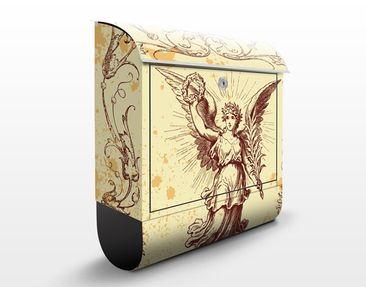 Produktfoto Briefkasten Vintage - Grunge Angel - Briefkasten Beige mit Zeitungsrolle