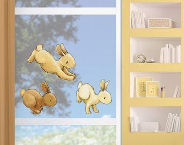 Produktfoto Fensterfolie - Fenstersticker Hoppelnde Häschen - Fensterbilder