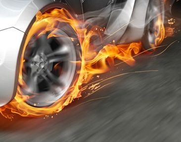Product picture Wall Mural Super Car In Flames Triptych...
