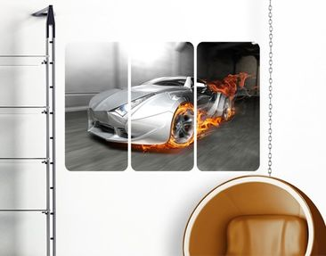Produktfoto Wall Mural Super Car In Flames Triptych...