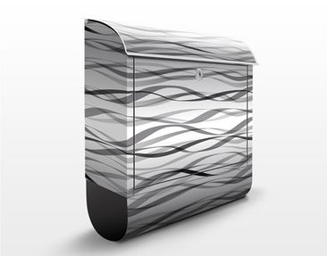 Produktfoto Briefkasten mit Zeitungsfach - Bänder Design Muster - Streifenmuster Schwarz-Weiß