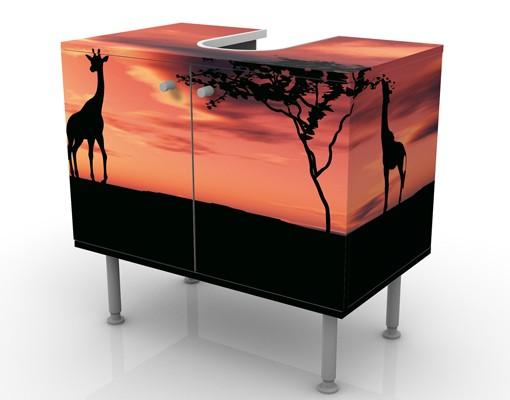 Produktfoto Waschbeckenunterschrank - African Life - Badschrank Orange Rot Schwarz
