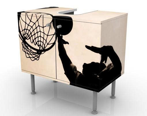 Produktfoto Waschbeckenunterschrank - Basketball - Badschrank Beige Schwarz