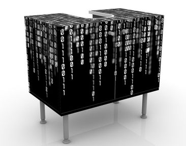 Produktfoto Waschbeckenunterschrank - Binärischer II Code - Badschrank Schwarz