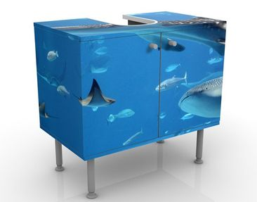 Produktfoto Waschbeckenunterschrank - Fish in the Sea - Badschrank Blau
