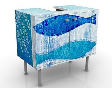 Produktfoto Waschbeckenunterschrank - Fish in the Blue - Maritim Badschrank Blau