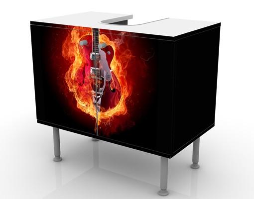 Produktfoto Waschbeckenunterschrank - Gitarre in Flammen - Badschrank Orange Rot Schwarz