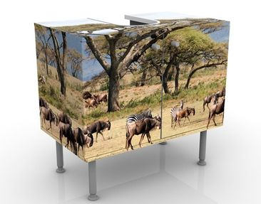 Immagine del prodotto Mobile per lavabo design Herd Of Wildebeest In The Savannah 60x55x35cm