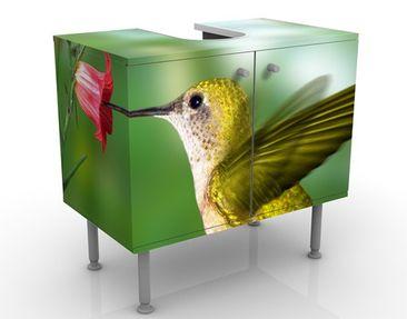 Produktfoto Waschbeckenunterschrank - Kolibri und Blüte - Badschrank Grün
