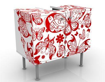 Produktfoto Waschbeckenunterschrank - Herz aus Schmetterlingen - Badschrank Weiß Rot
