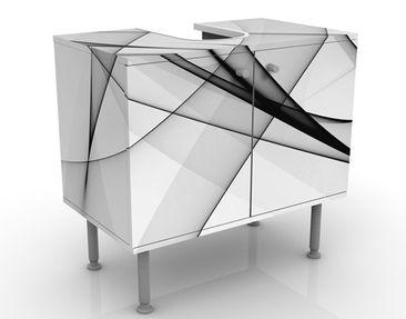 Produktfoto Waschbeckenunterschrank - Vibration - Badschrank Weiß Schwarz Grau