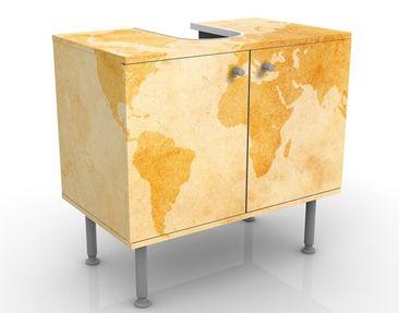 Produktfoto Waschbeckenunterschrank - Vintage Weltkarte - Badschrank Gelb