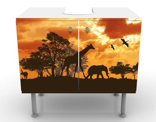 Produktfoto Waschbeckenunterschrank - Tanzania Sunset - Badschrank Orange Braun Schwarz