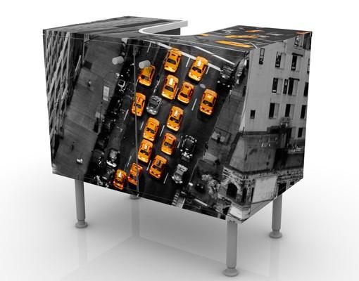 Produktfoto Waschbeckenunterschrank - Taxilichter Manhattan - Badschrank Gelb Schwarz Grau