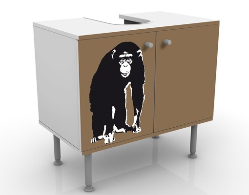 Produktfoto Waschbeckenunterschrank - No.TA10 Schimpanse - Badschrank Braun Schwarz