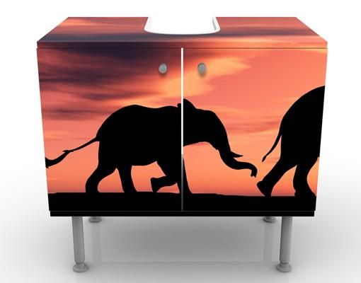 Produktfoto Waschbeckenunterschrank - Savannah Elefant Family - Badschrank Orange Rot Schwarz