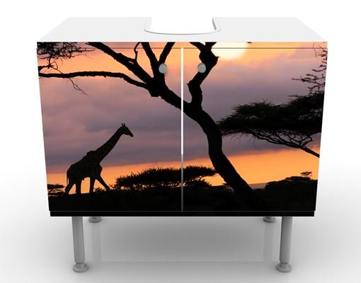 Produktfoto Waschbeckenunterschrank - Safari in Afrika - Badschrank Schwarz
