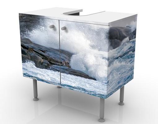 Produktfoto Waschbeckenunterschrank - Sturmwellen am Leuchtturm - Maritim Badschrank