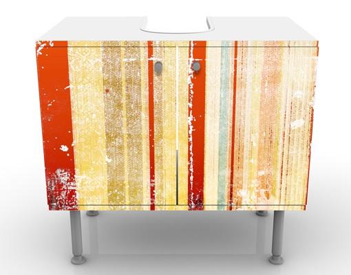 Produktfoto Waschbeckenunterschrank - Streaky I - Vintage Badschrank Orange Beige