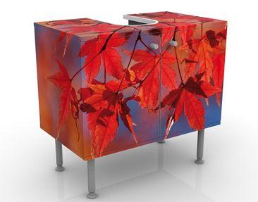 Produktfoto Waschbeckenunterschrank - Red Maple - Blumen Badschrank Rot