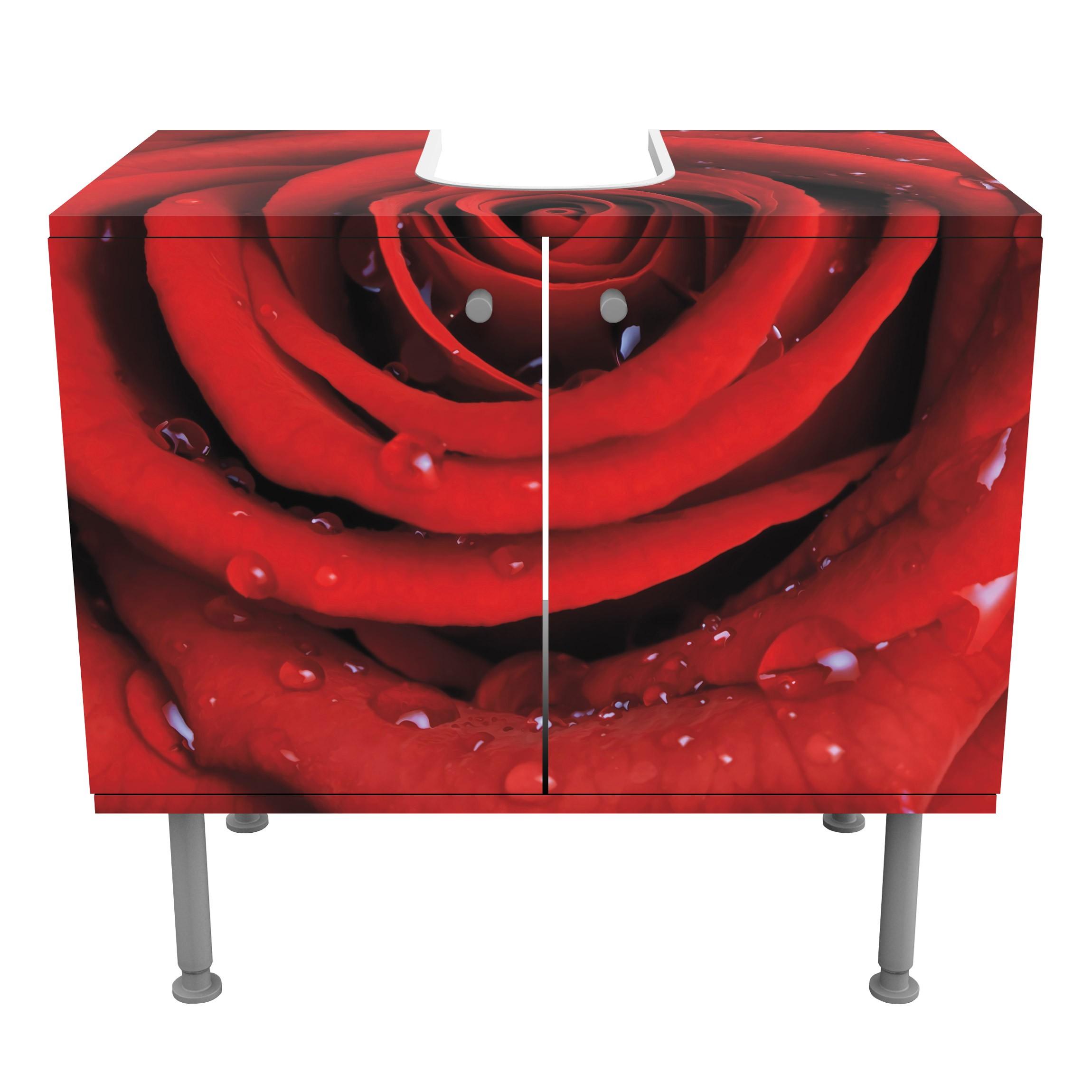 Badezimmerschrank Rot: Rosen Waschbeckenunterschrank