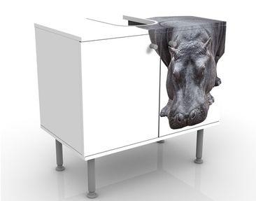 Produktfoto Waschbeckenunterschrank - Flusspferd - Badschrank Weiß Grau