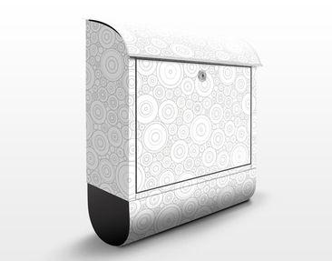 Produktfoto Briefkasten mit Zeitungsfach - Musterdesign mit Kreisen Hell - Punktemuster