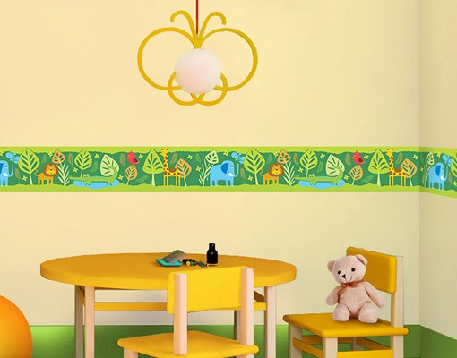 Wandtattoo Kinderzimmer Bordüre - Dschungel Bordüre - No.BP3 Zootiere