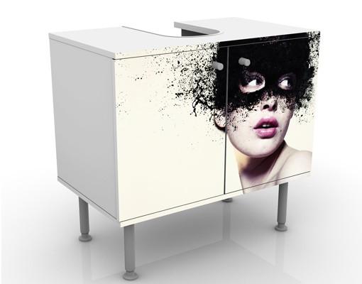 Produktfoto Waschbeckenunterschrank - Das Mädchen mit der schwarzen Maske - Badschrank Weiß Schwarz
