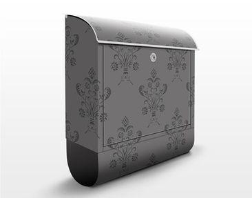 Produktfoto Briefkasten mit Zeitungsfach - Romantisches Bouquet Dunkel - Wandbriefkasten Grau